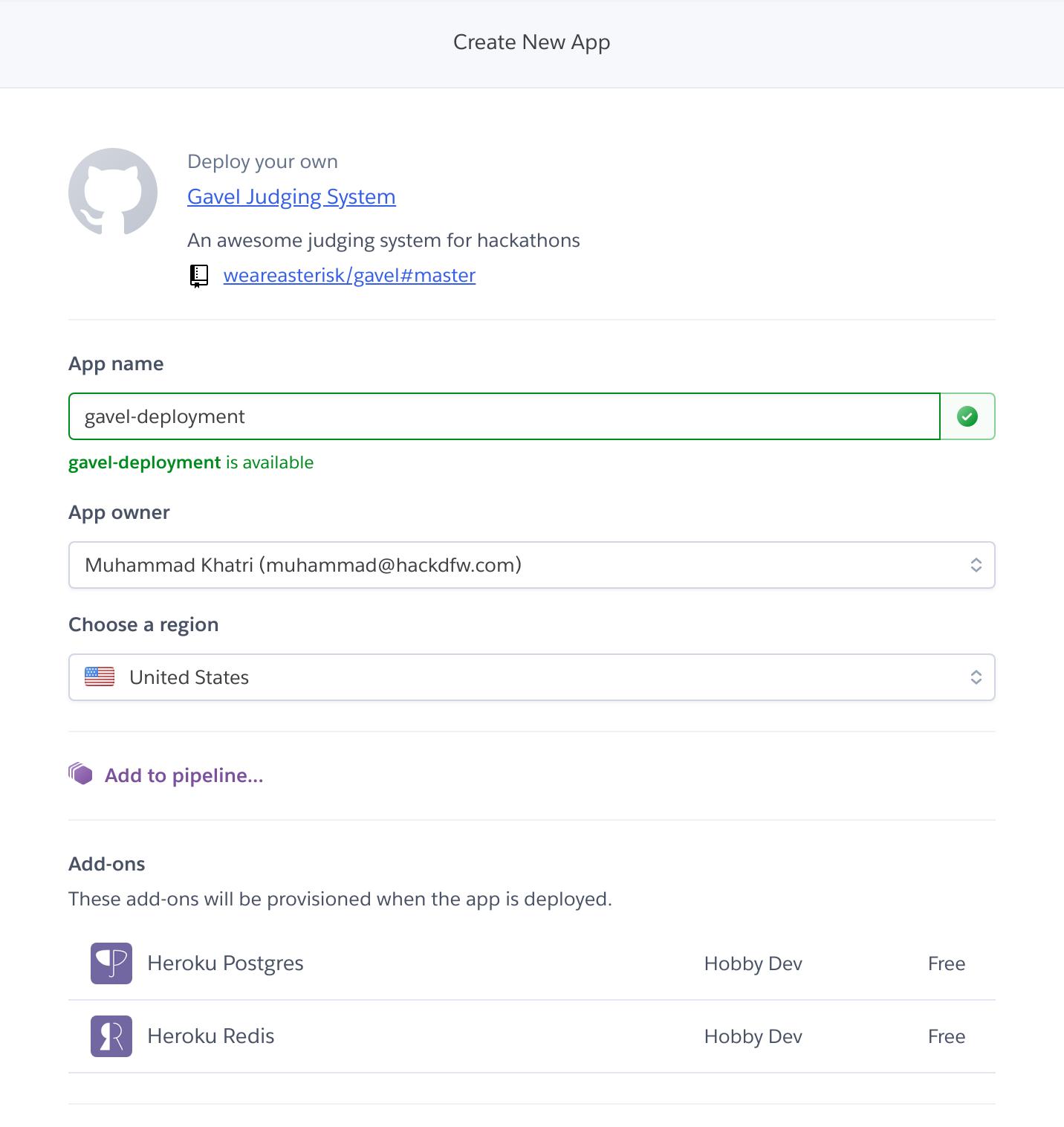heroku create new app landing page